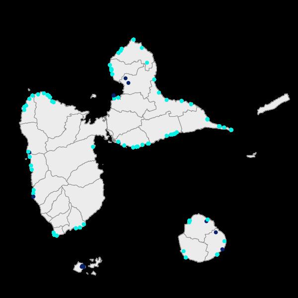 Points autorisant un accès au sentier du littoral Guadeloupe
