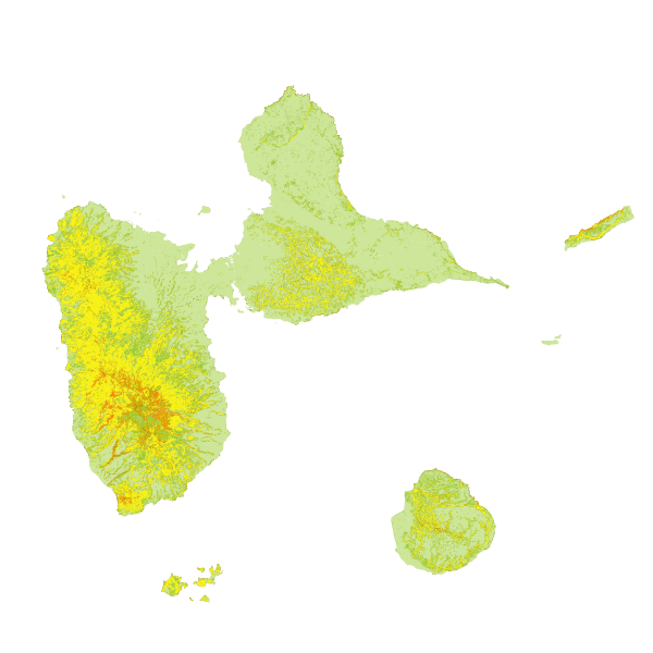 Cartographie des pentes de guadeloupe pour l'exploitabilité de la forêt