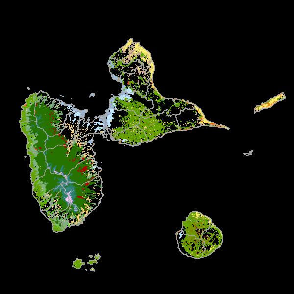 Cartographie des formations végétales de Guadeloupe 1988