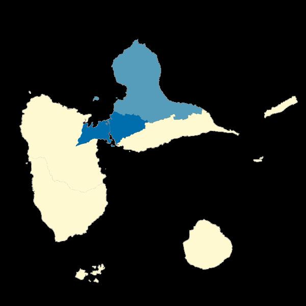 Répartition des émissions de dioxydes de carbone (CO2) dans les EPCI de la Guadeloupe en 2013