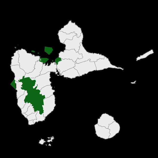Limites des zones classées coeurs du Parc national de la Guadeloupe