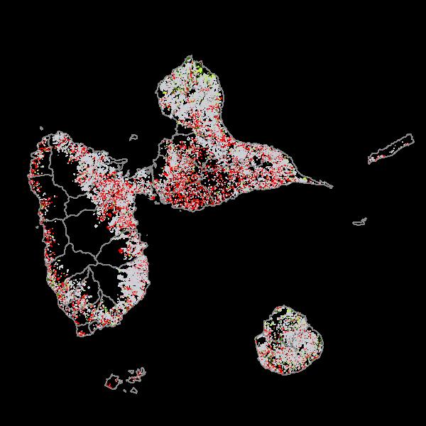 KaruCover évolution - Occupation du sol à grande échelle en 2 dimensions en Guadeloupe