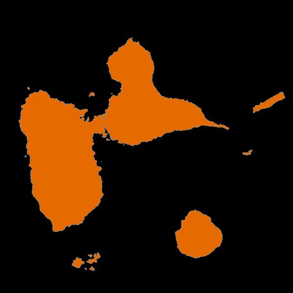 Répartition des émissions de PM10 sur l'ensemble de la Guadeloupe en 2013