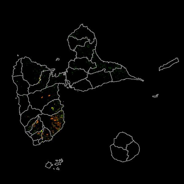 Teneurs en chlordécone des sols guadeloupéens: parcelles analysées