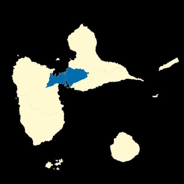 Répartition des émissions de PM25 dans les EPCI de la Guadeloupe en 2013